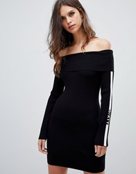 Miss Sixty Off The Shoulder Ribbed Knit Dress With Arm Logo Detail Black
