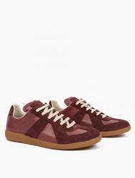 Maison Martin Margiela Burgundy Leather And Suede Replica Sneakers