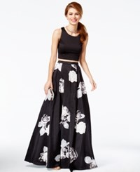 Sequin Hearts Juniors' 2 Pc. Floral Print A Line Gown A Macy's Exclusive Style Black White