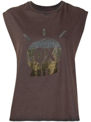Zadig And Voltaire Skull Jormi Sleeveless T Shirt Brown