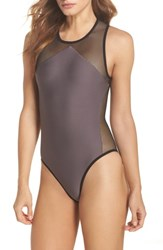 Ultracor High Tide One Piece Swimsuit Taupe Taupe Satin