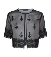 St. John Caviar Organza Silk Cropped Jacket Female Black