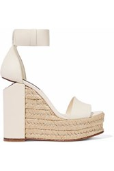 Alexander Wang Cutout Leather Espadrille Wedge Sandals Ivory