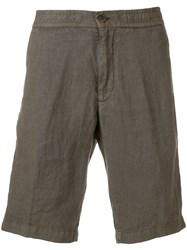 Z Zegna Knee Length Fitted Shorts Brown