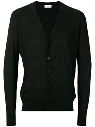 Ballantyne V Neck Cardigan Men Silk Linen Flax 48 Black