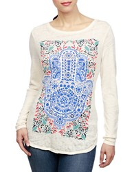 Lucky Brand Roundneck Printed Long Sleeve Tee White