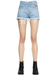 Forte Couture Love Embroidered Cotton Denim Shorts