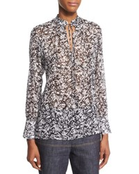 Derek Lam Long Sleeve Marble Print Georgette Blouse Black White