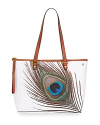 Elliott Lucca Ana Small Peacock Tote Bag White