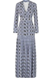 Rebecca De Ravenel Long Field Belted Printed Silk Crepe Chine Maxi Dress Blue