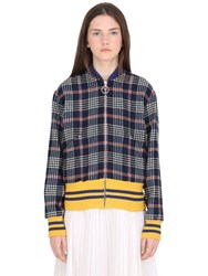 Gucci Plaid Wool Bomber W Embroidered Patches