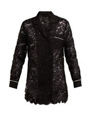 Dolce And Gabbana Floral Lace Piped Pyjama Top Black