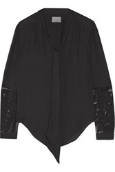 Maiyet Elipse Pussy Bow Appliqued Chiffon Blouse Black