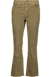 Current Elliott The Kick Cropped Mid Rise Corduroy Flared Jeans Sage Green