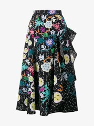 Peter Pilotto Floral Print Ruffle Cloque Skirt Black Multi Coloured