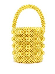 Shrimps Poppy Faux Pearl Bucket Bag Yellow