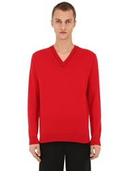 Falke Luxury V Neck Virgin Wool And Cashmere Sweater Red