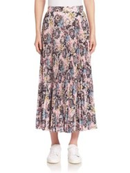 A.L.C. Williams Silk Pleated Midi Skirt Pink Blue Mustard