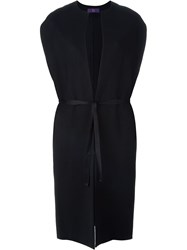 Y's Sleeveless Tie Coat Black
