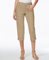 Styleandco. Style And Co. Tummy Control Cuffed Capri Jeans French Birch