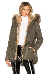 Sam. Mini Luxe Limelight Parka With Fur Lining Green