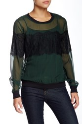 Gold Hawk Lace Pullover Silk Blouse Green