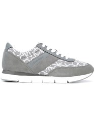 Calvin Klein Lace Up Sneakers Women Calf Leather Leather Suede Rubber 38 Grey