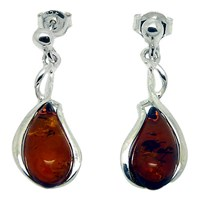 Goldmajor Amber And Sterling Silver Curve Teardrop Earrings Silver Amber