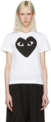 Comme Des Garcons Play White Heart T Shirt