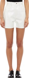Junya Watanabe Comme Des Garcons Perforated Synthetic Leather Shorts W White