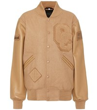 Opening Ceremony Wool Blend And Leather Varsity Jacket Brown