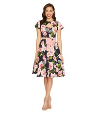 Unique Vintage Ashcroft Short Sleeve Swing Dress Navy And Pink Floral Women's Dress Multi