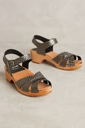Anthropologie Funkis 697 Stina Metallic Clogs Silver