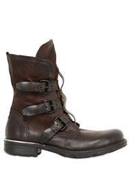 A.S.98 3 Buckles Washed Leather Boot