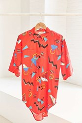 Urban Renewal Vintage 80S Red Geo Print Short Sleeve Button Down Shirt Assorted