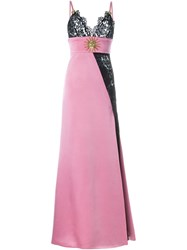 Fausto Puglisi Lace Pattern Evening Gown Pink And Purple