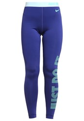 Nike Performance Tights Dark Purple Dust White Green Glow Turquoise
