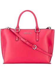 Armani Jeans Logo Plaque Tote Red