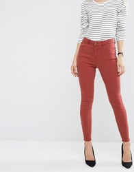 Asos Ridley High Waist Skinny Jeans In Rust Washed Brown Red