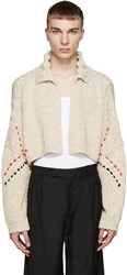 J.W.Anderson Beige Embroidered Cropped Cardigan