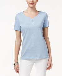 Karen Scott Petite Henley T Shirt Only At Macy's Light Blue Heather