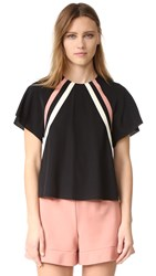 Red Valentino Short Sleeve Racer Stripe Blouse Black
