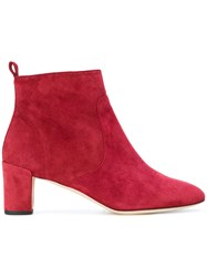 Repetto Mid Heel Ankle Boots Leather Suede Red