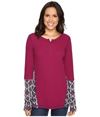 Hatley Waffle Knit Henley Burgundy Women's Clothing