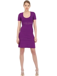 Vicedomini Viscose Ribbed Knit Dress Purple