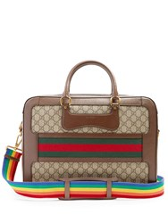 Gucci Gg Supreme Canvas And Leather Briefcase Brown