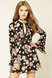 Forever 21 Floral Print Swing Dress Black Blush
