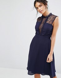 Elise Ryan Sleeveless Midi Dress With Contrast Lace Bodice Navy
