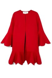 Valentino Ruffled Wool And Cashmere Blend Coat Red