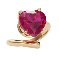Bijules Heart Cocktail Ring Red Gold Vermeil
